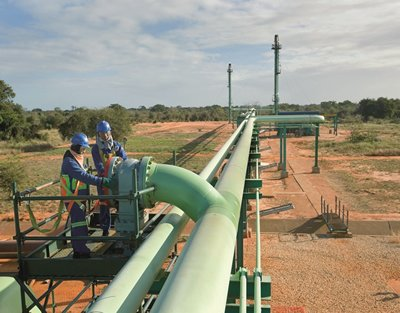 A natural gas pipeline in Mozambique