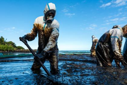 Volunteers clean the shoreline from oil after a tanker wreck off the coast of Mauritius