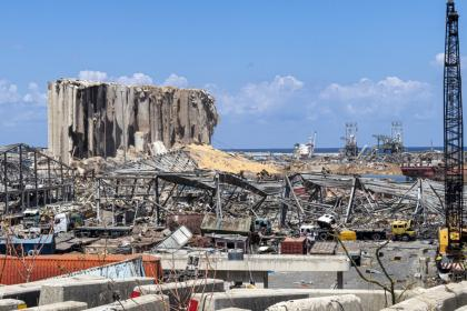 Beirut port after the explosion on 4 August 2020