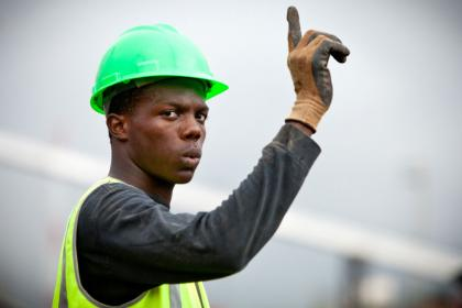 Construction worker in Africa