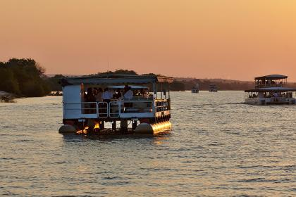 Tourists on lake in Zambia