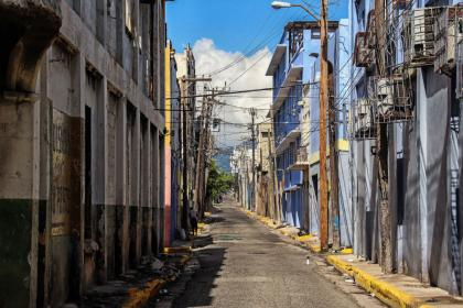 An empty street in Kingston, Jamaica
