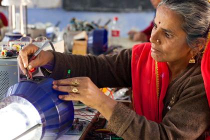 Women in India attending training to become solar engineers.